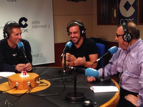 Fernando Alonso, anoche en los estudios de COPE Barcelona.