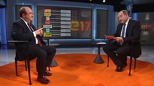 Miquel Iceta y Vicent Sanchis, anoche, en la entrevista en TV-3.