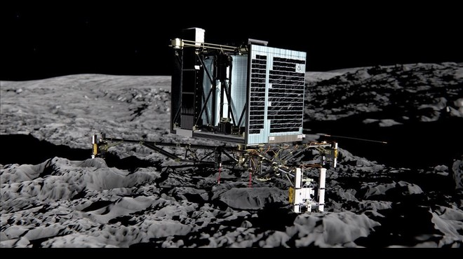 Simulaci�n del m�dulo Philae posado en el cometa 67P. El aterrizaje no fue tan preciso y acab� inclinado enun lugar sombr�o.