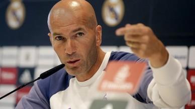 Zinedine Zidane, durante la rueda de prensa de este viernes en la ciudad deportiva de Valdebebas.