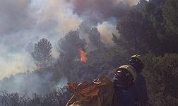 Un incendio quema 20 hect�reas de vegetaci�n en Cala Montjoi