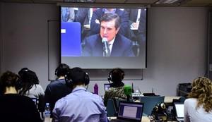 Imagen de Jaume Matas declarando, en el monitor instalado en la sala de prensa de la Escuela Balear de Administración Pública de Palma para seguir el juicio del caso Nóos.
