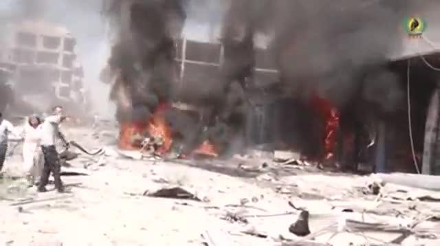 Caos y destrucci�n tras el atentado en Qameshli, en un v�deo colgado en Facebook por las Asayish.