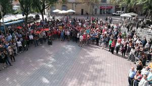 Una de las concentraciones contra la represión del 1-O, en Sant Boi.