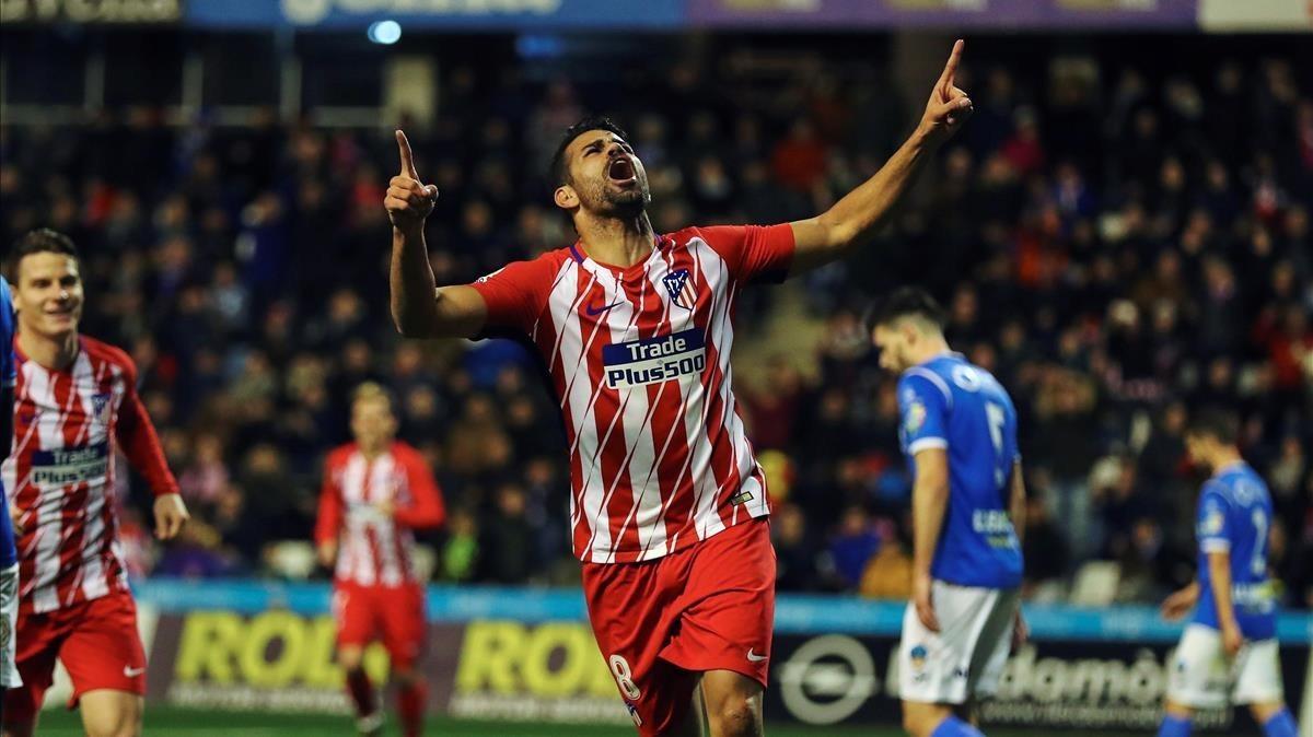 Diego Costa celebra su gol ante el Lleida.