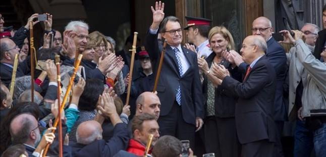 Artur Mas, tras declarar en el TSJC por la consulta del 9-N.