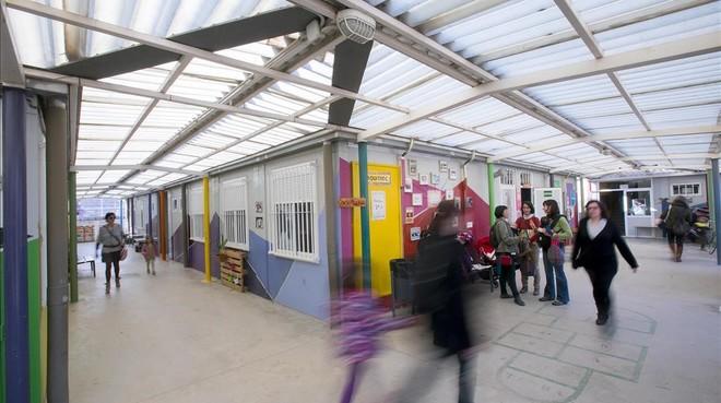Barracones escolares de La Maquinista, instalados desde hace nueve años.