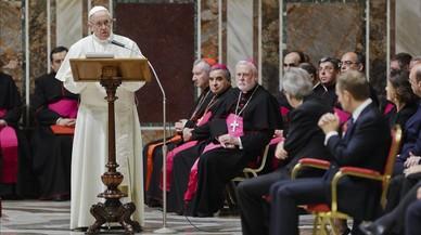 El Papa ofrece un discurso ante los líderes de la UE durante la audiencia en el Vaticano, el 24 de marzo.