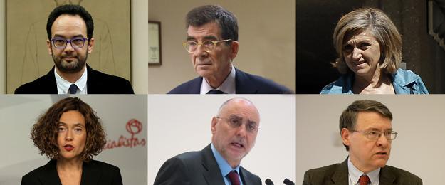 La comisión negociadora del PSOE (iz-der) Antonio Hernando, José E.Serrano, Luisa Cuerdo, Meritxell Batet, Rodolfo Ares y Jordi Sevilla.