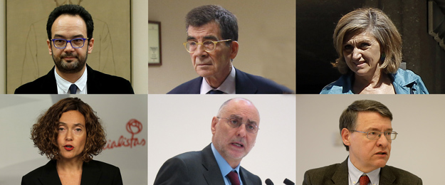 La comissi� negociadora del PSOE (esq.-dreta) Antonio Hernando, Jos� E. Serrano, Luisa Cuerdo, Meritxell Batet, Rodolfo Ares i Jordi Sevilla.