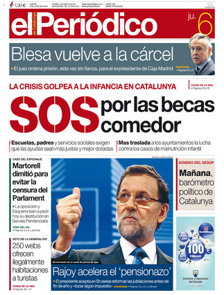 Sos por las becas comedor en la portada de el peri dico d for Becas comedor barcelona