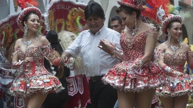 El presidente de Bolivia, Evo Morales, en los carnavales de Oruro.