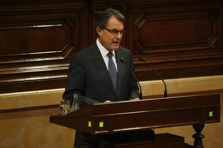 El 'president' Artur Mas, durante su intervencin en el debate de poltica general, este martes, en el Parlament.