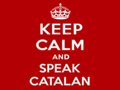 Cartel con el lema 'Keep calm and speak catalan'.