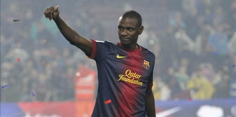 Abidal saluda en la fiesta de la celebracin&nbsp;de la Liga.