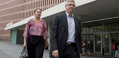 Xavier Martorell, a la salida de la Ciutat de la Justicia de Barcelona, este lunes.