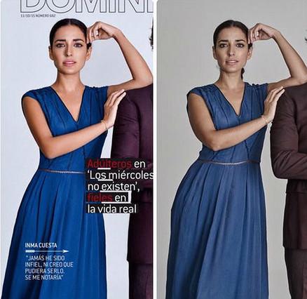 Inma Cuesta en las imágenes de la polémica: a la izquierda, en la portada de Dominical, a la derecha, la fotografía original para la que la agencia pidió correcciones.