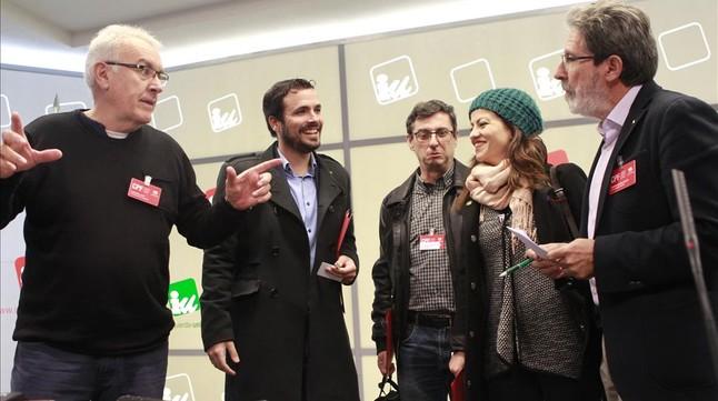 Cayo Lara (Izquierda) y Alberto Garzón, el sábado en Madrid.