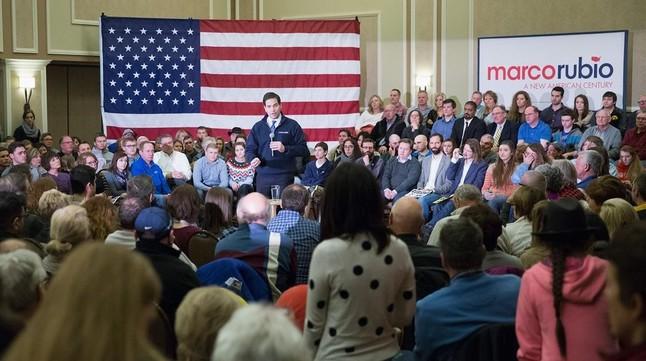 El aspirante republicano Marco Rubio en Dubuque (Iowa).
