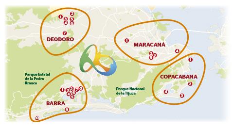 Mapa de las sedes de Rio 2016
