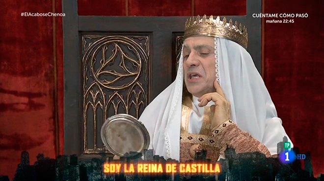 Parodia de la reina Isabel la Católica en El acabose