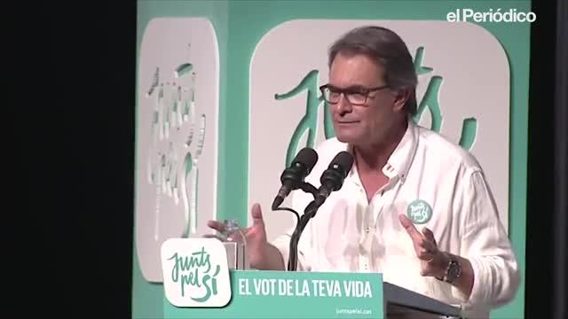 Artur Mas, durant la seva intervenció en un míting de JxSí, el setembre del 2015 al'Hospitalet de Llobregat, durant la campanya del 27-S.