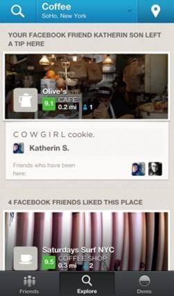 Foursquare usará Facebook para hacer recomendaciones