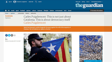 """Puigdemont, a 'The Guardian': """"Defensarem els nostres drets fins al final"""""""