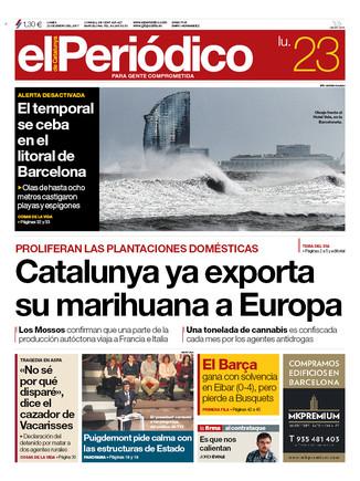La portada de EL PERIÓDICO del 23 de enero del 2017