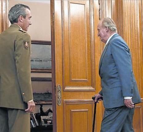 El Rey, ayer, durante una audiencia en el palacio de la Zarzuela.