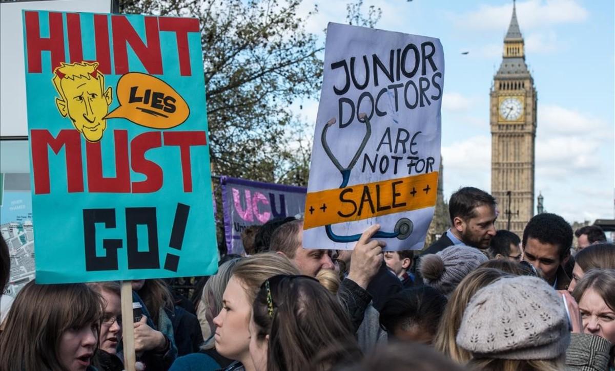 Protesta de médicos en Londres