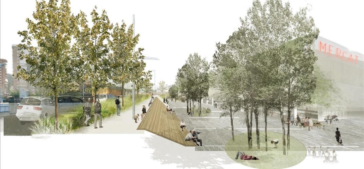 Imagen orientativa de la ampliación de la acera y la redistribución del espacio prevista en las obras de la Ronda de Dalt en el mercado del Vall dHebron.