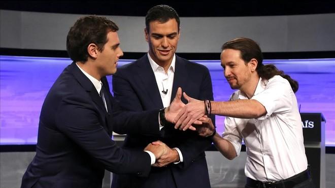 Albert Rivera, Pedro S�nchez y Pablo Iglesias, en un debate televisivo.