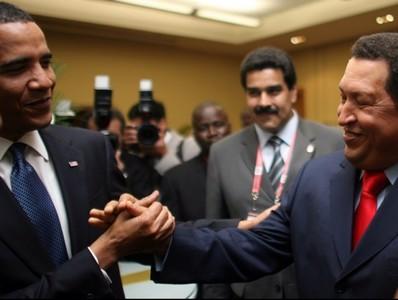 Encuentro entre Obama y Chávez en 2009 en Trinidad y Tobago.