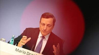 Mario Draghi, en la rueda de prensa celebrada este jueves tras la reuni�n del consejo de gobierno del BCE.
