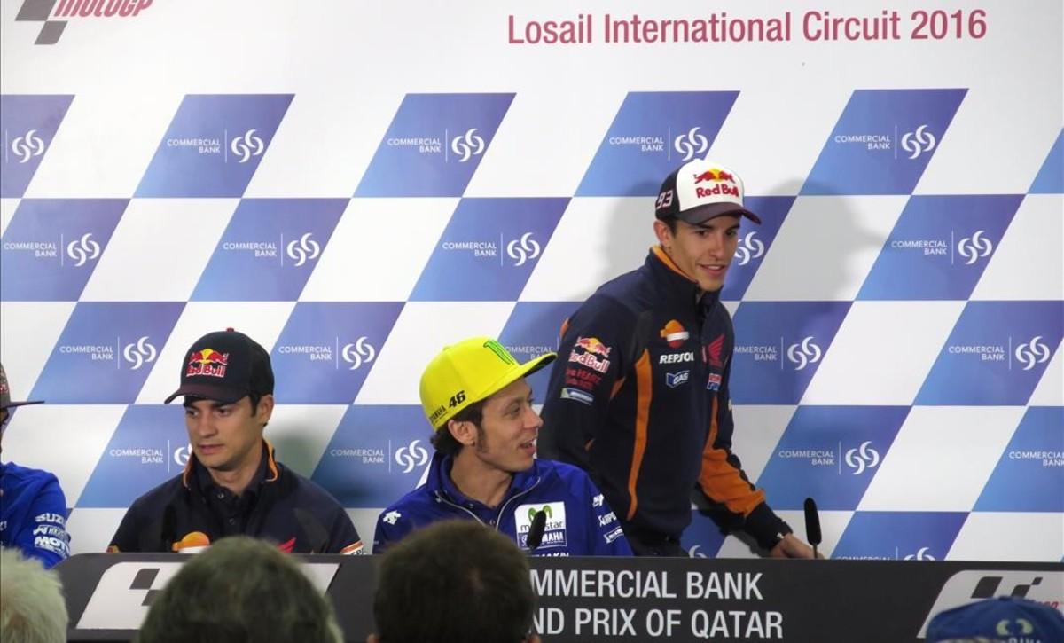 Rossi y M�rquez escenifican su enemistad en Catar