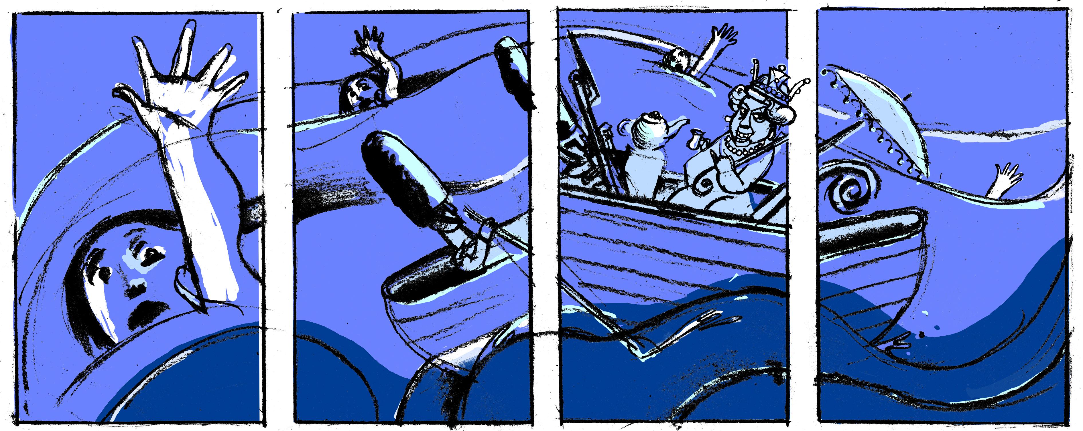 Personas an�nimas se ahogan en el oc�ano mientras la reina de Inglaterra navega en un bote
