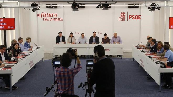 Reuni�n del comit� electoral del PSOE, este mi�rcoles en la sede del partido en Madrid.