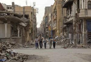 Destrucci�n en la localidad de Deir al Zor.