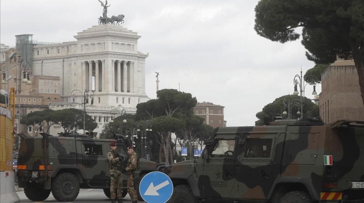 Más seguridad en las calles de Roma por los actos de aniversario del Tratado de Roma.