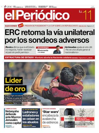 La portada de EL PERIÓDICO del 11 de diciembre del 2017