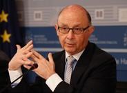 El ministro de Hacienda en funciones, Crist�bal Montoro, en la rueda de prensa de este jueves.