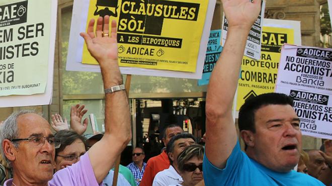Protesta en Barcelona por las cláusulassuelo.
