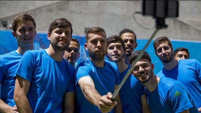Jordi Alba, en un acto publicitario en Barcelona.