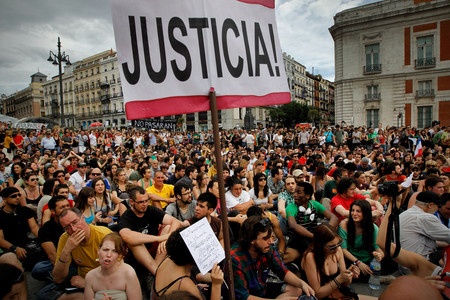 Asamblea en la Puerta del Sol de los indignados, 15-M.