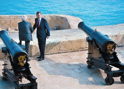 Mariano Rajoy ayer en Malta despus de la foto de familia con sus homlogos europeos.