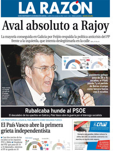 Portada de 'La Razn'. 22-10-2012.