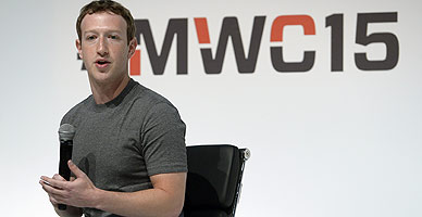 Mark Zuckerberg, durante su intervenci�n en el Mobile World Congress.