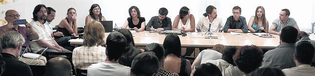 Reunión del consejo ciudadano de Podemos, en la sede de Princesa, en Madrid.