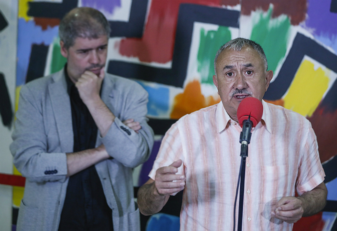 Unai Sordo y Josep Maria Álvarez, en un acto sindical.